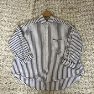 Oversized Striped Pajama Button Down Shirt